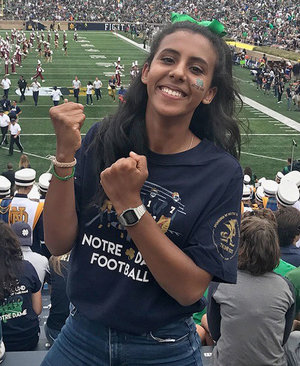 Zahour at her first Notre Dame football game as a first-year student.