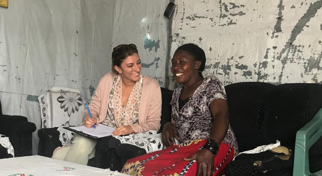Maryam Rokhideh conducting interview in Rwanda