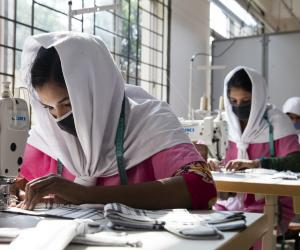 Young Bangladeshi women being trained at the Savar Export Processing Zone training center in Dhaka