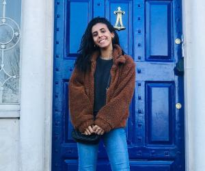 Hind Zahour in front of the O'Connell House at Notre Dame's Dublin Global Gateway, on the last day o