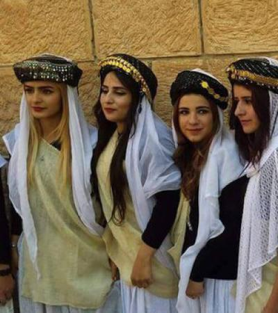 Yazidi girls in traditional clothes
